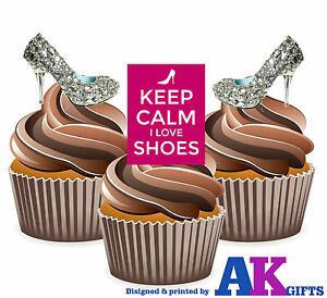 PRECUT-Silver-Shoes-High-Heels-12-Edible-Cupcake-Toppers-Birthday-Decorations