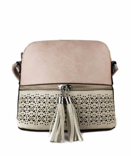 UK New Ladies Small Shoulder Messenger//Body Cross Handbag Tassel Front bag purse