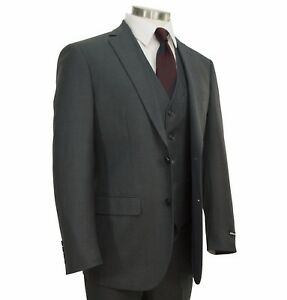 Men's Charcoal Gray Textured 3pc 2 Button Slim-Fit Suit w/ Matching Vest NEW Clothing, Shoes & Accessories