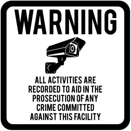 45-200mm CCTV Warning All Activities Are Recorded White Square Sign Sticker