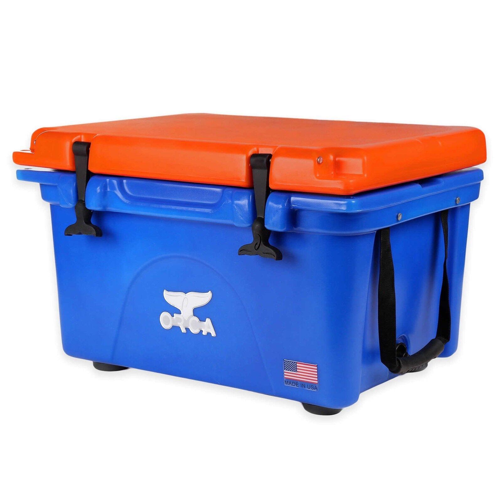 ORCA Blau & Orange 26 qt Cooler   LIFETIME WARRANTY  26 QUART Blau w  Orange LID