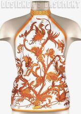GUCCI orange PHOENIX birds Floral TOPAUDE silk scarf HALTER top NWT Authentic!