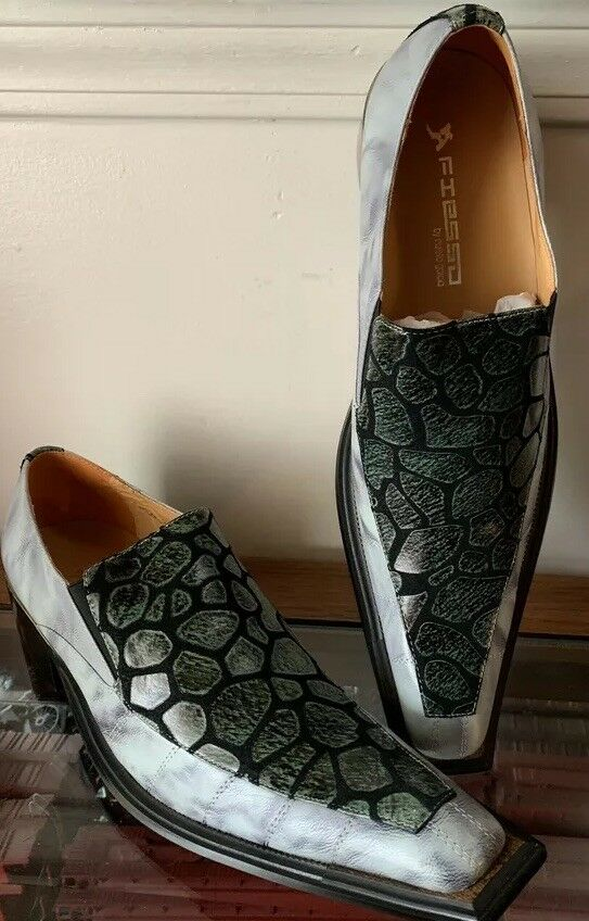 Fiesso Aurelio Garcia Leather Pointed Toe Loafers Alligator Print FI6050 Size 9