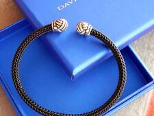 David Yurman Sterling Silver Black Braided Flexible OSFA 5mm Cuff Bracelet Mint!