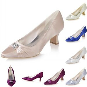 Image Is Loading Crystal Satin Wedding Bridal Shoes Office Work Party