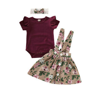 Tutu Skirt Bow Headband Infant Outfits Herqw61 3pcs Baby Girl Sets Ruffle Long Sleeve Romper