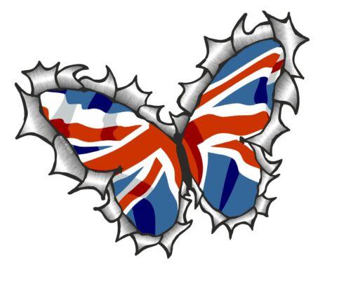 Mariposa Diseño De Metal RASGADO RASGADO /& Union Jack Bandera Británica Auto Adhesivo Calcomanía