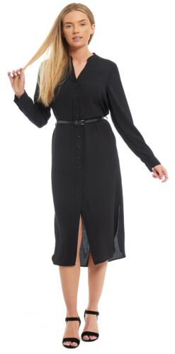 Ladies Womens Marks Spencer Long Belt Shirt Dress Buttoned Black Grandad Collar