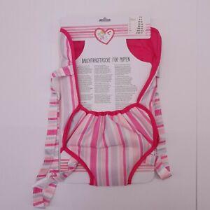 Bauchtragetasche-fuer-Baby-Puppen-rosa-mit-verstellbarem-Gurt-Polyester