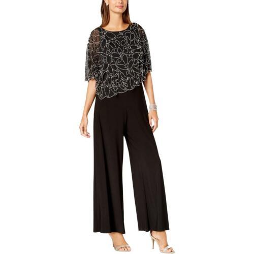 MSK Womens Black Lace Overlay Embellished Daytime Jumpsuit S BHFO 8931