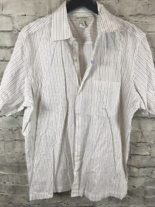 Banana-Republic-Homme-Stretch-Shirt-a-Manches-Courtes-Taille-XL-Slim-Fit-Raye