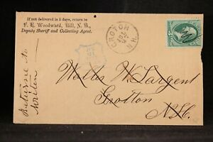 New Hampshire: Hill 1877 Cover, Fancy Blue Shield Cancel to Groton & Forwarded