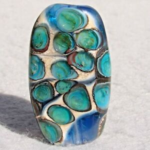 BAYSHORE-Handmade-Art-Glass-Focal-Bead-Flaming-Fools-Lampwork-Art-Glass-SRA