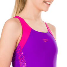 Speedo Boom Splice Muscleback Girls Swimsuit Electric Pink Lime Punch