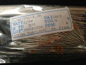3.3K Ohms 5% Tol. 1/4w Xicon Carbon Film Resistors (200 Pieces) P/N 291- 3.3K