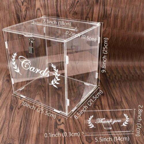 Acrylic Wedding Card Box Clear Card Box with Lock Reception Birthday Party Decor