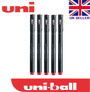 UNI PIN  0.2 mm DRAWING PEN  ULTRA FINE LINE MARKER red pack 5