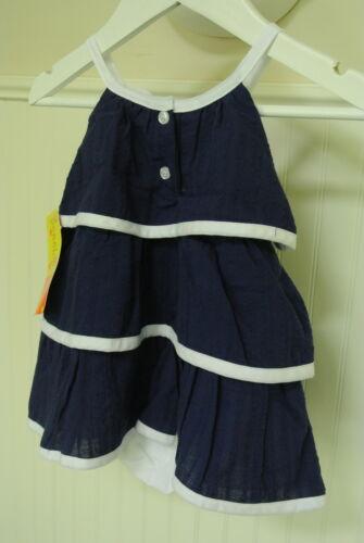 Penelope Mack Dress Girls Pretty Navy Blue Ruffled Tiered White Trim Nautical