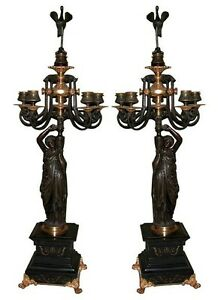 And Great Variety Of Designs And Colors Full Range Of Specifications And Sizes Beautiful Pair Of Italian Bronze Figural Candelabras #6282 Famous For High Quality Raw Materials