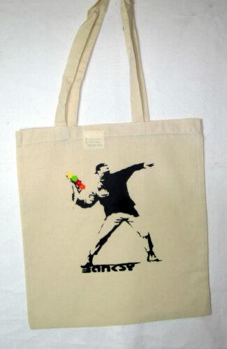 Borsa a sacco juta bag Banksy STREETART fiori Battitore flowerthrower
