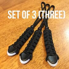3 x BLACK GLOW-IN-THE-DARK End 550 Paracord Knife Lanyards *Combined Shipping*