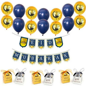 Blue-Gold Eid Mubarak Decor Set -Balloons Banner Candy Box FREE SHIPPING FROM US