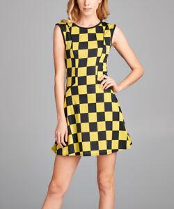 Fit & Flare Robe Mini Taille 6 Jaune Et Noir Damier-afficher Le Titre D'origine Facile Et Simple à Manipuler