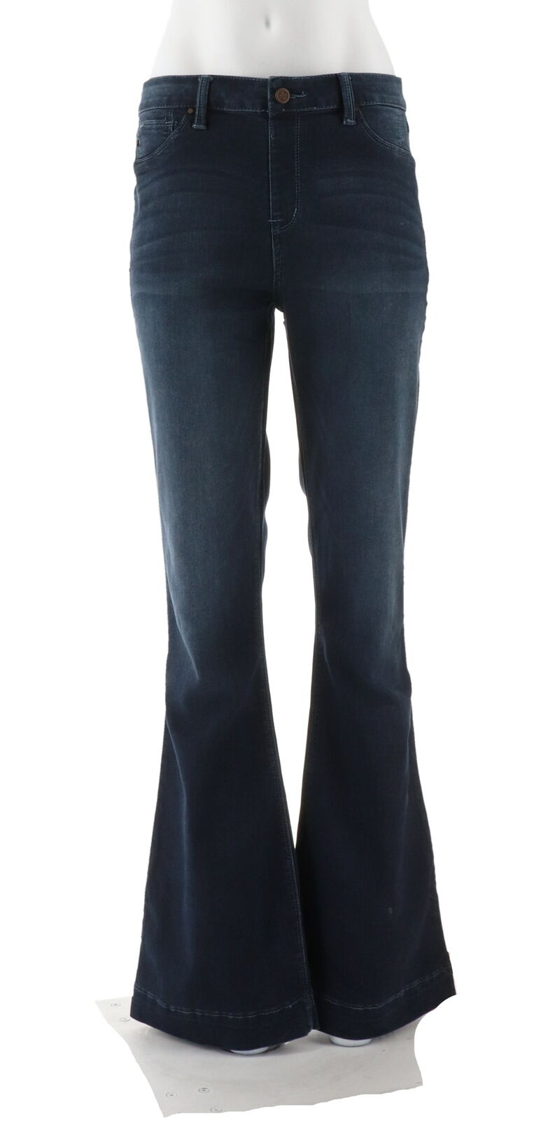Laurie Felt Tall Silky Denim Flare Pull-On Jeans Brushed Pacific XS NEW A309676
