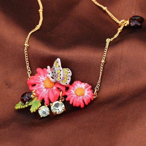 Halskette golden Kurz Emaille green pink Mehrfarbig blueme Schmetterling