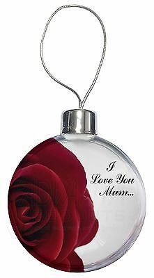 Dedito Red Rose 'i Love You Mum' Christmas Tree Bauble Decoration Gift, Mum-r1cb