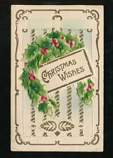 Greetings Christmas NOVELTY Embossed Applique latticing used 1911 PPC USA
