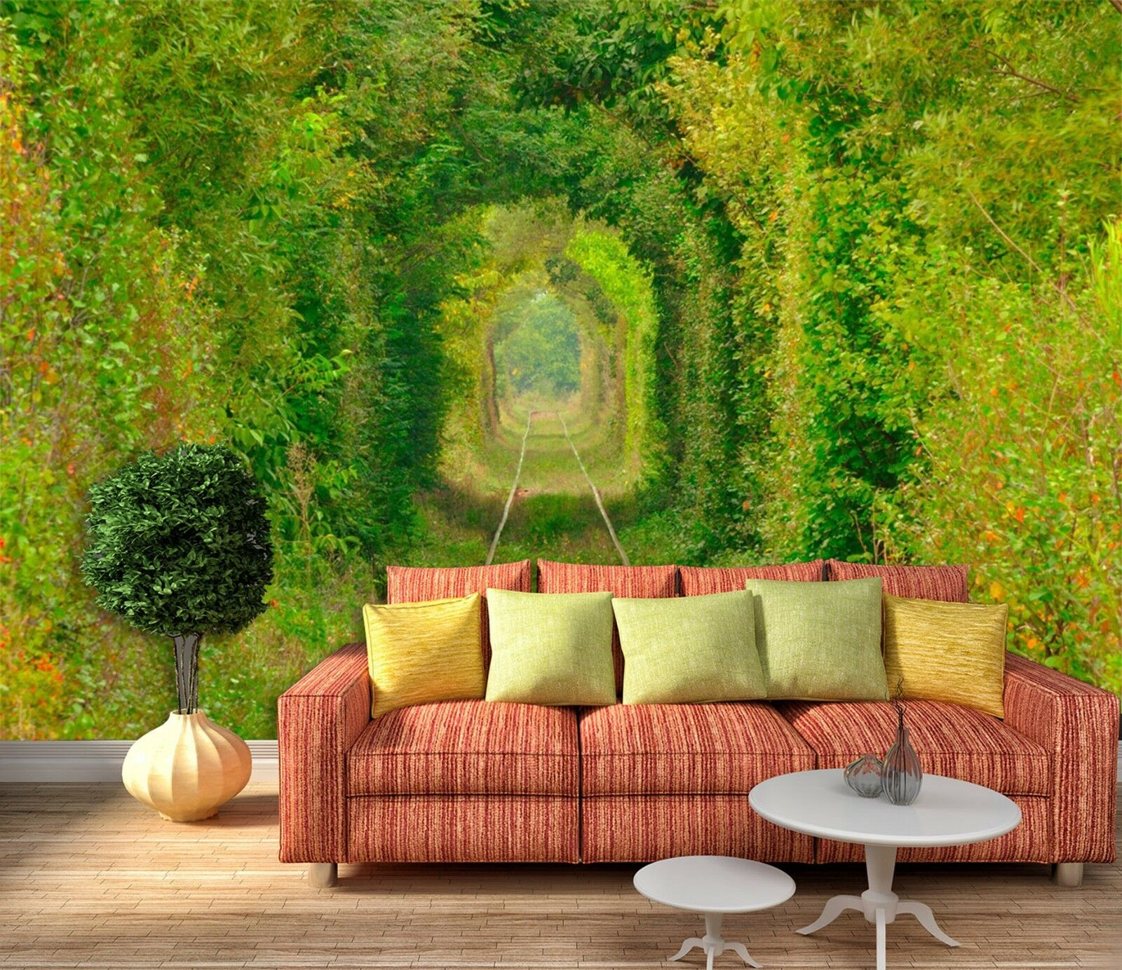 3D Grün trees archway Wall Paper Print Decal Wall Deco Indoor wall Mural