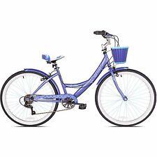 "26"" Women's Cruiser Bike Bicycle with Basket 7 Speed Adult Purple Comfort Seat"