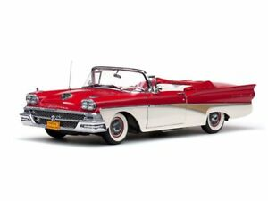 1958-Ford-Fairlane-500-convertible-RED-1-18-SunStar-5262