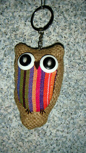 OWLS! Burlap & other colorful material OWL key ring/fob/zipper pull, squeezable