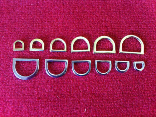 x10 Pressed Solid D-Rings Brass /& Nickel Plated Various Sizes Webbing Bags Leads