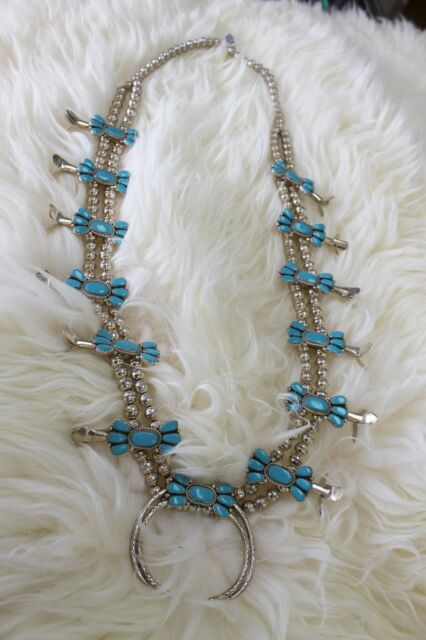 Native Navajo Dead Pawn Sterling Silver Turquoise Squash Blossom Necklace