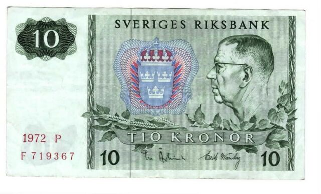 SWEDEN Sveriges 10 Kronor aXF Banknote (1972 P) P-52c Paper Money F Prefix