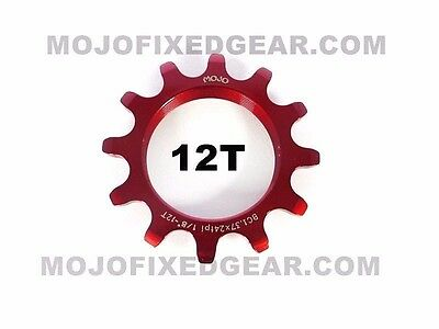 MOJO 12T FIXED GEAR COG RED ANODIZED Cro-Mo TRACK 12 TOOTH 1//8 INCH CNC