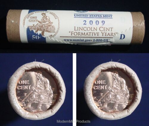 2009-D BU Lincoln Formative Years US Mint Wrapped Roll Tail-Tail