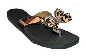 51e600fd0 Guess TuTu 2 thong sandal natural brown print jeweled sz 5 Med NEW ...