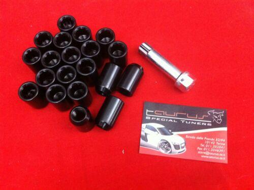 Kit 20 dadi ruota STELLA Neri colonnette M12x1.5 12x1,5 L 32mm Conici Lega Race