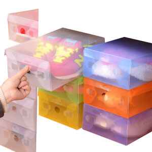 1-5pc-Home-Plastic-Clear-Shoes-Boot-Box-Foldable-Storage-Colour-Drawer-Organizer