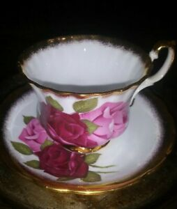CROWNFORD-Beautiful-Fine-Bone-China-TEA-CUP-amp-SAUCER-FLORAL-Vintage-GUC
