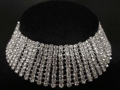 """10 Row Clear Rhinestone Necklace Choker 1-1/8"""" (28mm) wide Wedding Bridal Prom"""