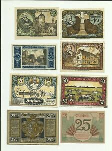 Notgeld-Fallersleben-Hanover-Brandenburg-Glogau-gros-salze-lot-8-pcs-collection