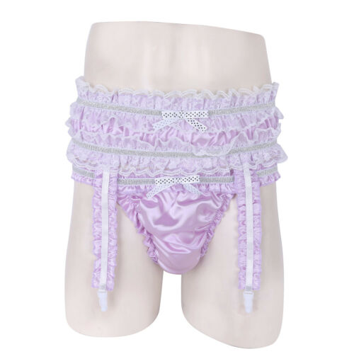 Sissy Men/'s Satin Briefs Underwear Frilly Lace G-string Shorts With Garters Set
