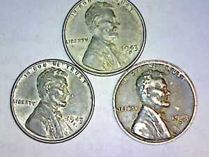 Details about 1943-P D S LINCOLN STEEL CENT LOT