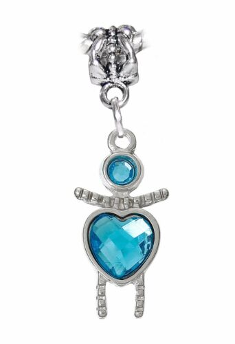 March Birthstone Little Girl Baby Blue Heart Dangle Charm for European Bracelets