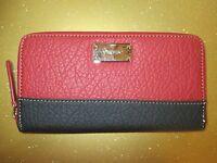 NEW NINE WEST CLUTCH Zip Around WALLET Black Pink $39 Retail Karma